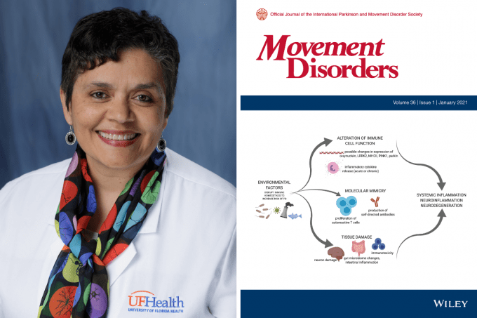 Doctor Tansey next to an image of the Movement Disorders jounral cover. The illustration on the cover details how environmental factor lead to molecular changes which further lead to inflammation neuroinflammation and neurodegeneration