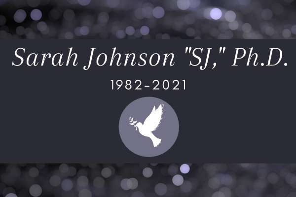 S-J graphic detailing the dates she lived (1982-2021)
